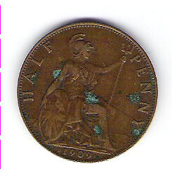 Coin 1909 Great Britain 1/2 Cent Penny Kingston Kingston Area image 2