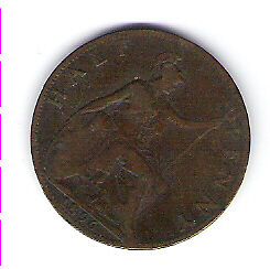 Coin 1896 Great Britain 1/2 Cent Penny Kingston Kingston Area image 2