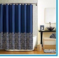 Home Royale Fabric Bathroom Shower Curtain Navy Blue Cream
