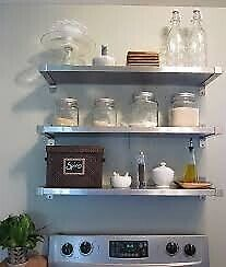 IKEA EKBY MOSSBY 10 Catering stainless steel shelves 79x19cm Glassware hanging storage & brackets