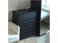 Ikea black brown chest of 4 drawers with free tinted glass top
