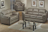 3 PC LEATHER SOFA SET $899/-CHOICE OF COLOR (NO TAX)