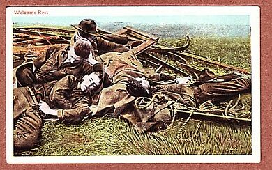 WELCOME REST - WW1 DOUGHBOY COLOR POSTCARD