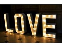 GIANT light up LOVE letters for weddings - SPECIAL OFFER, only £135 to hire!