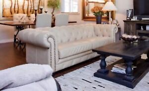 Tufted Leather, Designer Top Grain Chesterfield