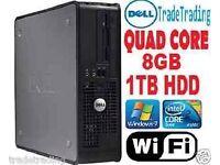 FAST QUAD CORE PC COMPUTER DESKTOP TOWER WINDOWS 7 WI-FI 8GB RAM 1000GB HDD