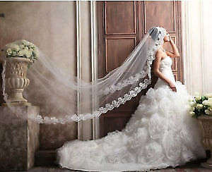 White and ivory Cathedral wedding veils
