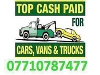 07710787477 WANTED CARS JEEPS VANS SCRAP CARS NON RUNNERS SELL YOUR CAR TODAY PAY TOP CASH IN 1 HOUR