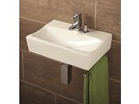 HIB cloakroom washbasin with towel rail and soap dispenser