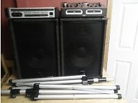 dj set up cd decks amp speakers and stands all leads etc