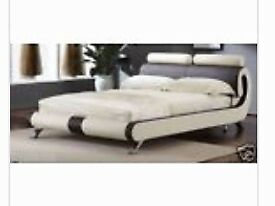 Bed Kingsize faux Leather (with mattress)
