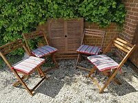 Square garden table and four chairs - great condition!