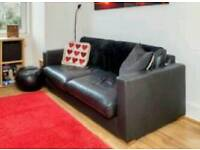 John Lewis black 3-seater leather sofa