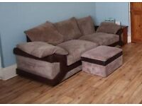 Comfortable and stylish two seater sofa with storage footstool
