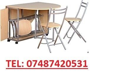 BUTTERFLY FOLD AWAY DINING ROOM TABLE & CHAIRS
