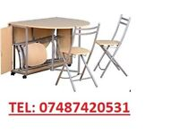 BUTTERFLY FOLD AWAY DINNING ROOM TABLE & CHAIRS LAST ONE