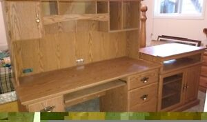 Sauder Desk with hutch, extra cabinet and 2 bookcases