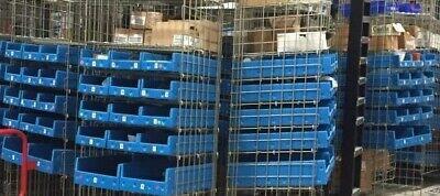 Flexcon Blue Plastic Storage Bins W Hopper Front 24d X 12w X 6h Pallet Of 64