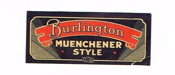 Rare 1930s Wisconsin BURLINGTON MUENCHENER STYLE BEER Neck Label Tavern Trove