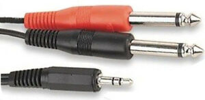 2M-Metre-3-5mm-STEREO-Jack-to-2-x-6-35mm-1-4-MONO-Plugs-Cable-Twin-Guitar-Amp
