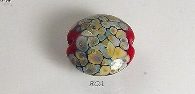 - ROA Lampwork 1 Red Raku 18 mm Focal Lentil Handmade Art Glass Beads SRA