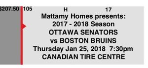 Sens vs bruins - two tickets - Jan 25 (parking pass included)