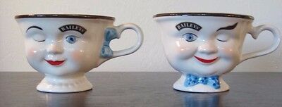 """Bailey's """"Yum"""" Mugs - Set 2 Winking Faces - His - Blue Bow Tie & Hers Hair Bow"""