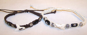 2 REAL SHARK TOOTH BRACELETS jl486 jewelry bracelet teeth sharks woven beads