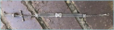 Antique Victorian Solid Silver Albertina Watch Chain Bracelet Tassel T-Bar Slide