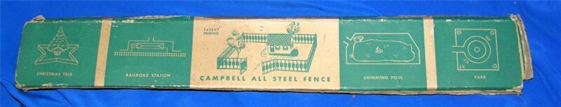 VTG CAMPBELL ALL STEEL GREEN FOLDING TOY FENCE - DOLLS HOUSE, XMAS TREE/PUTZ IOB