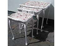 Up-cycled Nest of 3 tables, with real fern and petals- was £75, NOW £50: @ebbandflowhome
