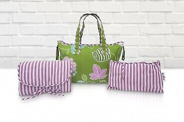 Belily-World Venice Green Shopper Bag - Wickeltasche Set