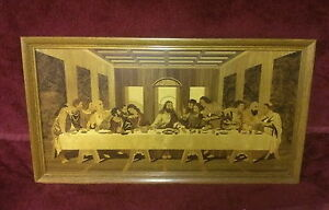 """THE LAST SUPPER"" MARQUETRY INLAID WOOD - RARE"