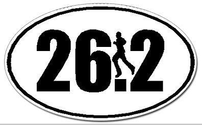 (26.2 Marathon Runner Euro Oval Car Decal / Sticker - Black & White  2.5