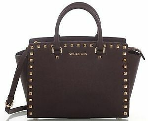 Michael Kors Large Selma Studded Saffiano Tote- Dark Brown