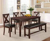 BRAND NEW 6 PIECE DINETTE WITH FREE BENCH