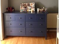 Dresser Chest with 8 Drawers Solid Pine Blue - House Clearance