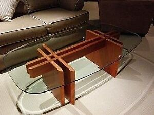 Teak Glass Top Coffee Table  & End Table