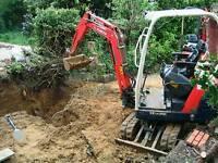 Mini Digger & Driver hire Groundwork Ph 07810707060