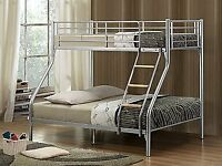 🛑⭕ Sale On🛑⭕ New Black And White Trio Sleeper Metal Bunk Bed Frame With White Orthopedic Mattress