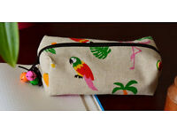 Handmade small cotton linen zipper pencil case/makeup bag