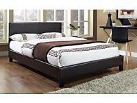 New 4ft6 double leather bed black or brown free delivery