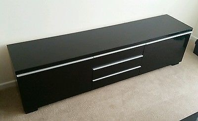 Large Tv Unit Bench High Gloss Black Besta Burs From Ikea Excellent