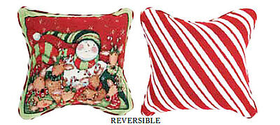 Deer Friends Jolly Reindeer & Snowman Christmas Holiday Tapestry Toss Pillow
