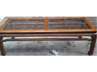 1970's wooden coffee table with glass insets