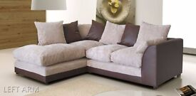 **AMAZING SALE OFFER** Byron Left / Right Hand Corner Sofa In Brown Colour, New Fabric Corner Sofa