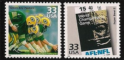 GREEN BAY PACKERS KANSAS CITY CHIEFS SUPER BOWL I TICKET FOOTBALL US STAMPS MINT