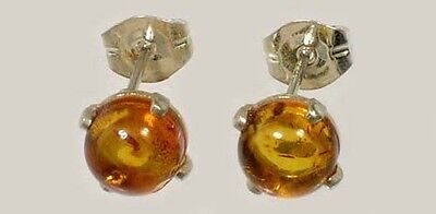 Two 19thC Antique Baltic Cognac Amber Stone Gemstone Age Magic Soul Earrings