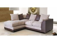 Byron Jumbo Cord Corner Group Sofa Black and Charcoal & Brown And Beige ** Right or Left