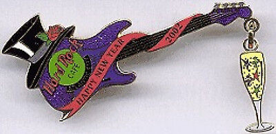 Hard Rock Cafe ATLANTIC CITY 2002 New Years Party GUITAR PIN + Champagne - Party City New Years